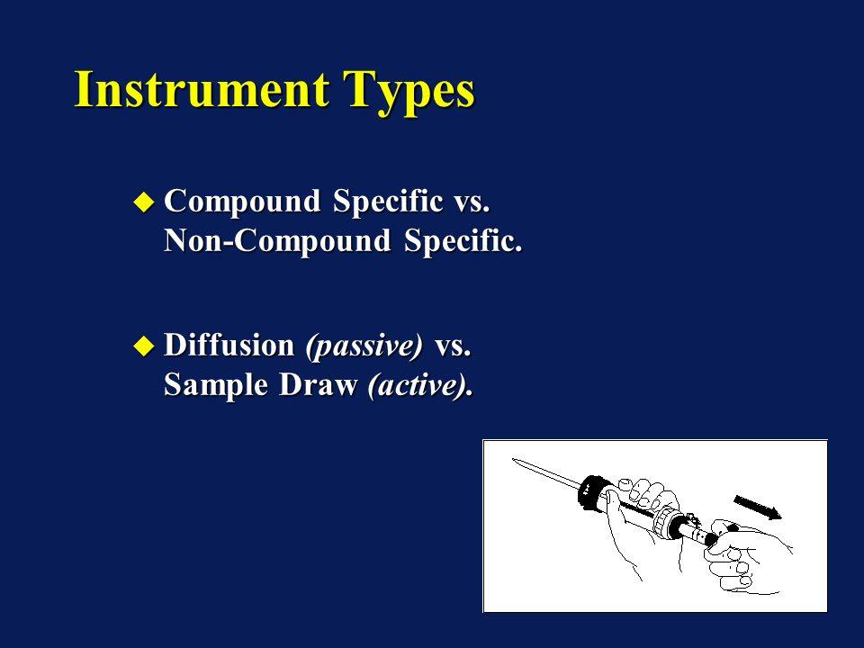 Instrument Types Compound Specific vs. Non-Compound Specific. Compound Specific vs. Non-Compound Specific. Diffusion (passive) vs. Sample Draw (active