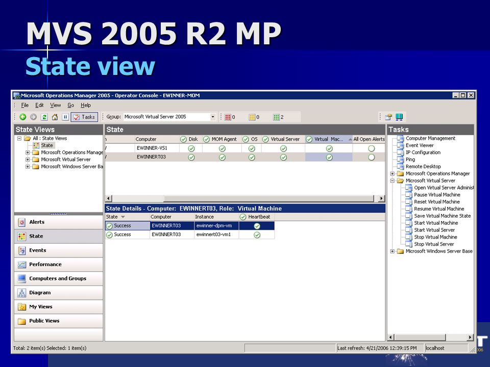 MVS 2005 R2 MP State view