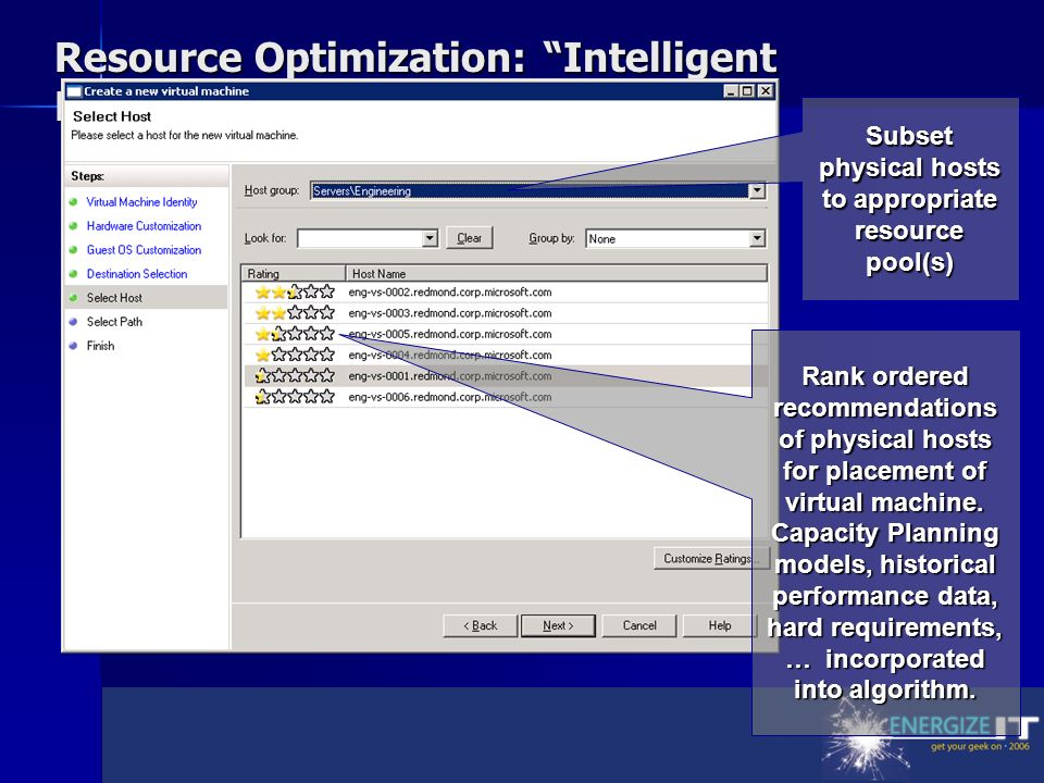 Resource Optimization: Intelligent Placement Subset physical hosts to appropriate resource pool(s) Rank ordered recommendations of physical hosts for placement of virtual machine.