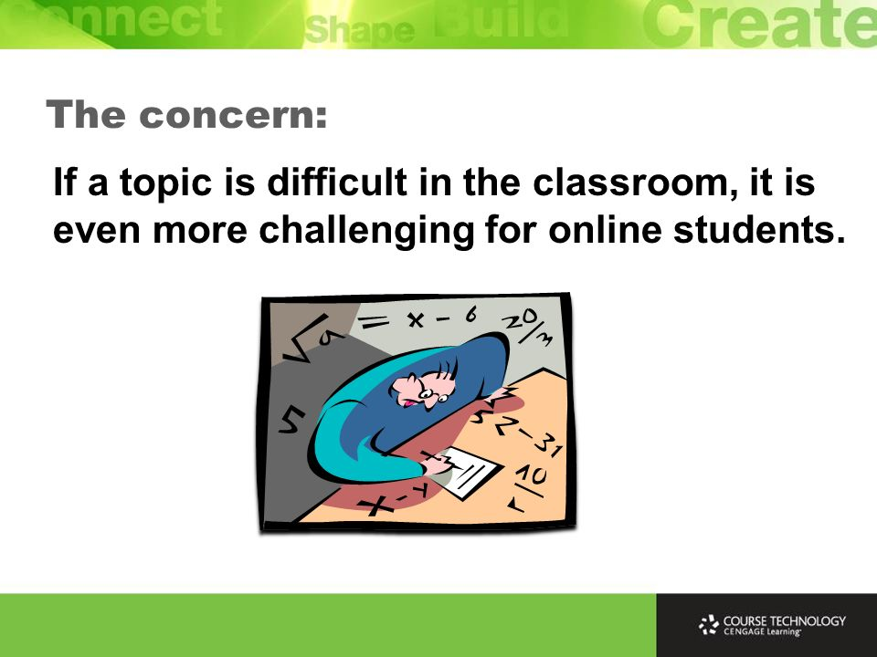 If a topic is difficult in the classroom, it is even more challenging for online students. The concern: