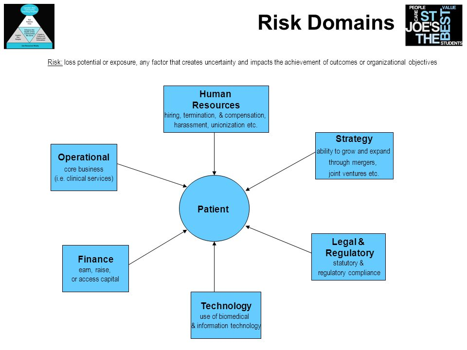 Risk Domains Patient Finance earn, raise, or access capital Operational core business (i.e. clinical services) Human Resources hiring, termination, &
