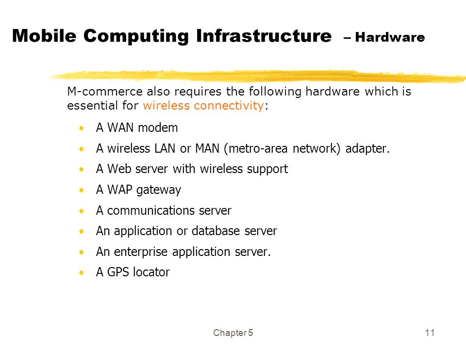 Chapter 511 Mobile Computing Infrastructure – Hardware A WAN modem A wireless LAN or MAN (metro-area network) adapter. A Web server with wireless supp