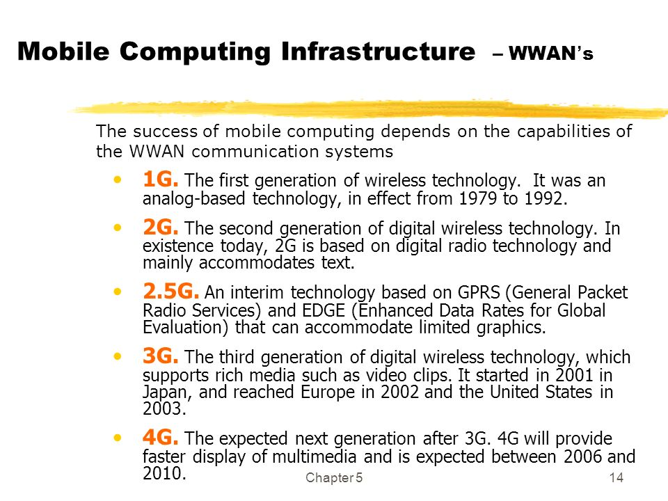 Chapter 514 Mobile Computing Infrastructure – WWAN s The success of mobile computing depends on the capabilities of the WWAN communication systems 1G.