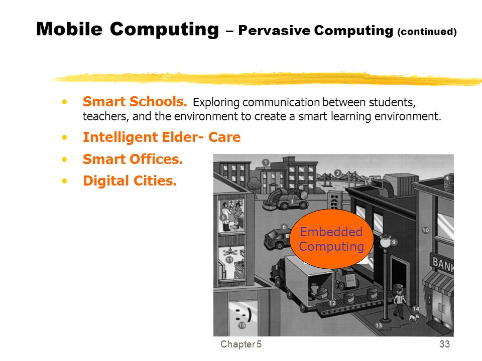 Chapter 533 Mobile Computing – Pervasive Computing (continued) Smart Schools. Exploring communication between students, teachers, and the environment