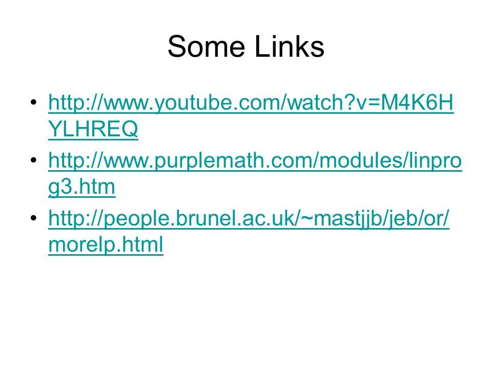 Some Links http://www.youtube.com/watch?v=M4K6H YLHREQhttp://www.youtube.com/watch?v=M4K6H YLHREQ http://www.purplemath.com/modules/linpro g3.htmhttp: