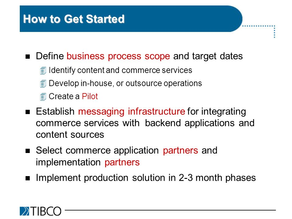 How to Get Started n Define business process scope and target dates 4Identify content and commerce services 4Develop in-house, or outsource operations