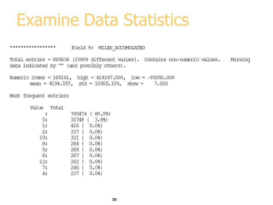 30 Examine Data Statistics