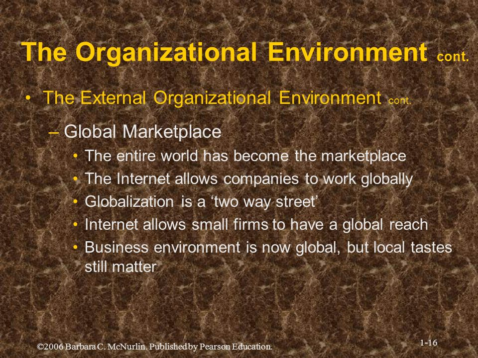 ©2006 Barbara C. McNurlin. Published by Pearson Education. 1-16 The Organizational Environment cont. The External Organizational Environment cont. –Gl