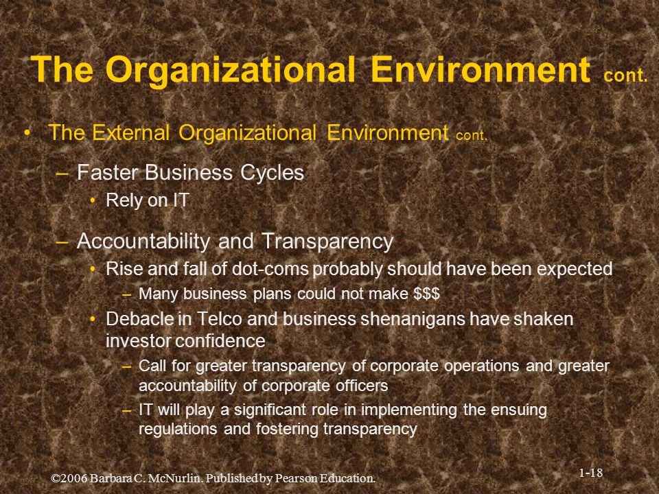 ©2006 Barbara C. McNurlin. Published by Pearson Education. 1-18 The Organizational Environment cont. The External Organizational Environment cont. –Fa