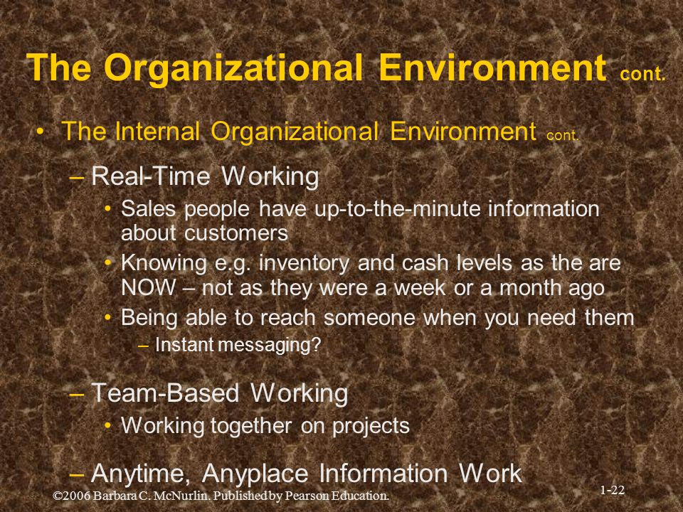 ©2006 Barbara C. McNurlin. Published by Pearson Education. 1-22 The Organizational Environment cont. The Internal Organizational Environment cont. –Re