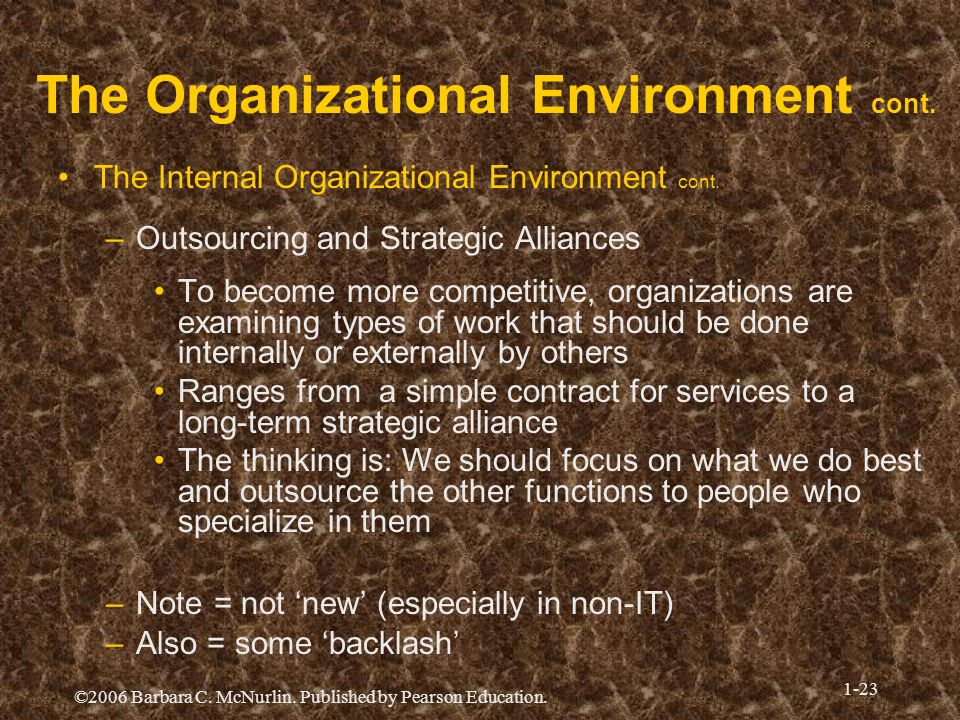 ©2006 Barbara C. McNurlin. Published by Pearson Education. 1-23 The Organizational Environment cont. The Internal Organizational Environment cont. –Ou