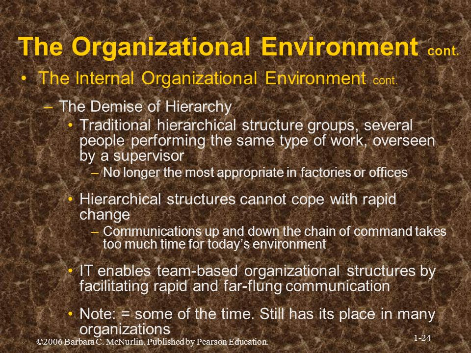©2006 Barbara C. McNurlin. Published by Pearson Education. 1-24 The Organizational Environment cont. The Internal Organizational Environment cont. –Th