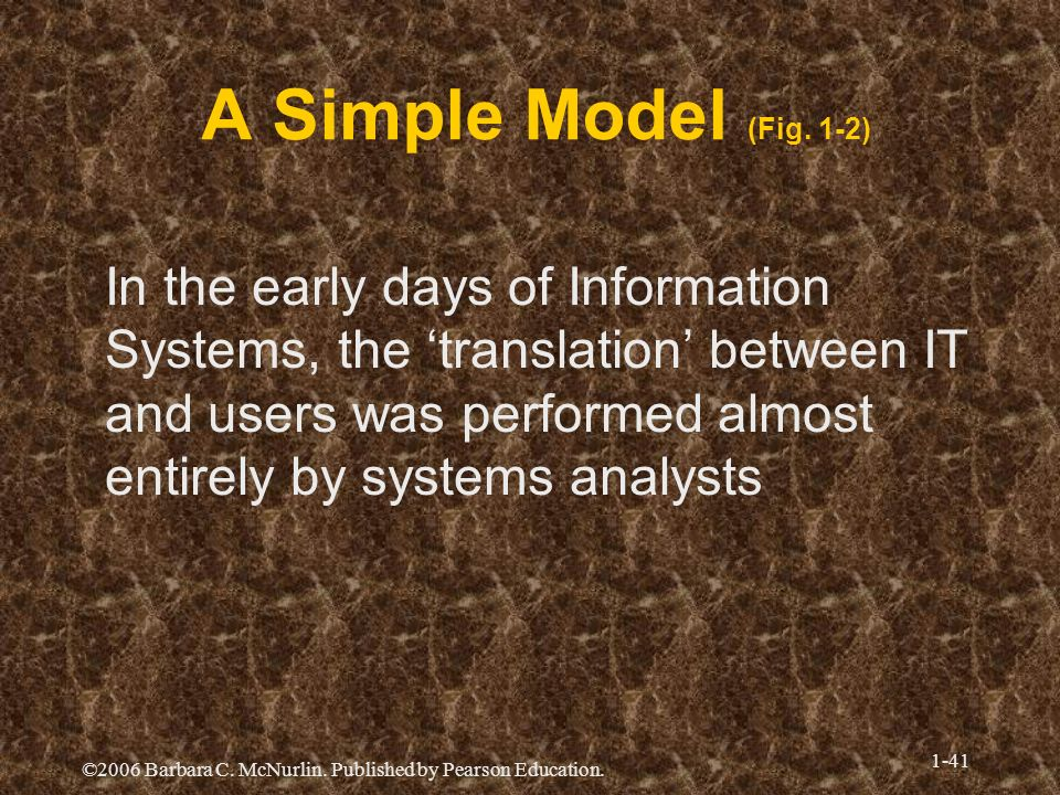 ©2006 Barbara C. McNurlin. Published by Pearson Education. 1-41 A Simple Model (Fig. 1-2) In the early days of Information Systems, the translation be