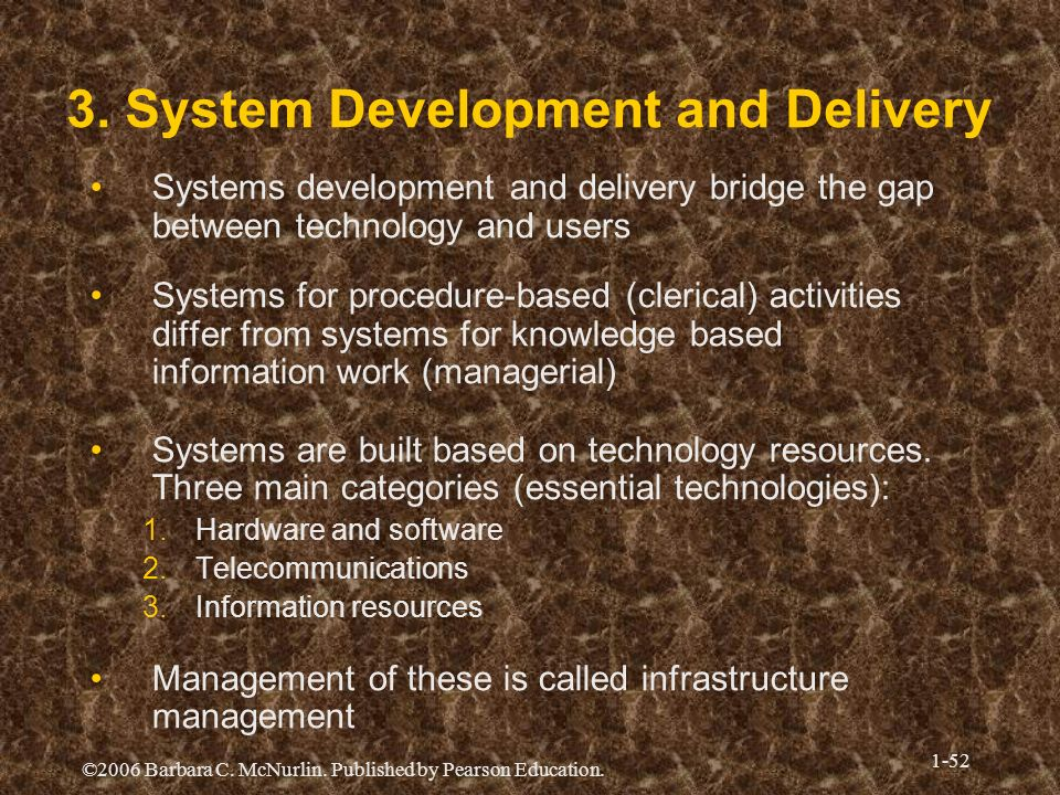 ©2006 Barbara C. McNurlin. Published by Pearson Education. 1-52 3. System Development and Delivery Systems development and delivery bridge the gap bet