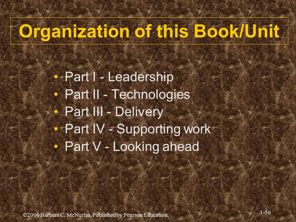 ©2006 Barbara C. McNurlin. Published by Pearson Education. 1-56 Organization of this Book/Unit Part I - Leadership Part II - Technologies Part III - D