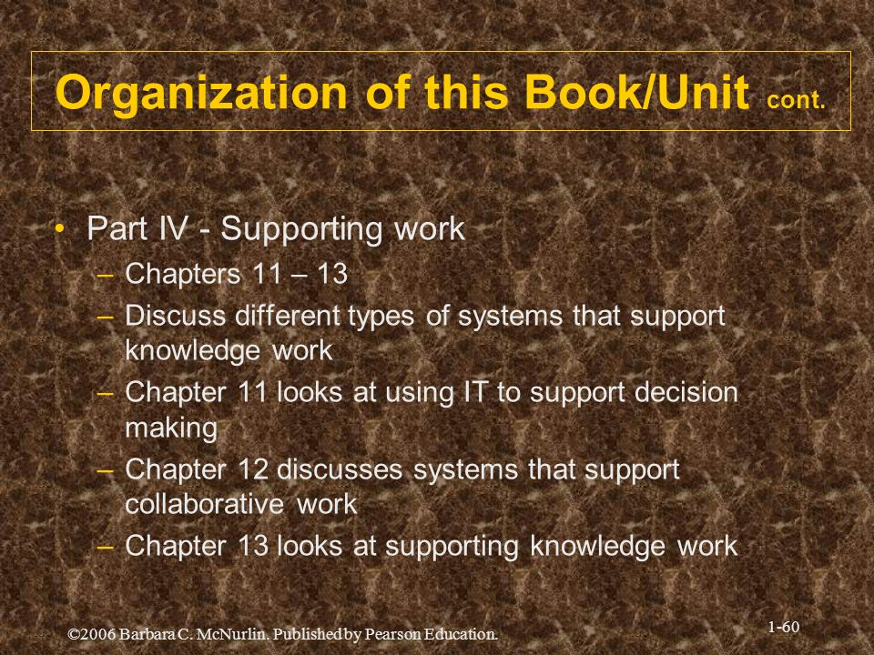 ©2006 Barbara C. McNurlin. Published by Pearson Education. 1-60 Organization of this Book/Unit cont. Part IV - Supporting work –Chapters 11 – 13 –Disc