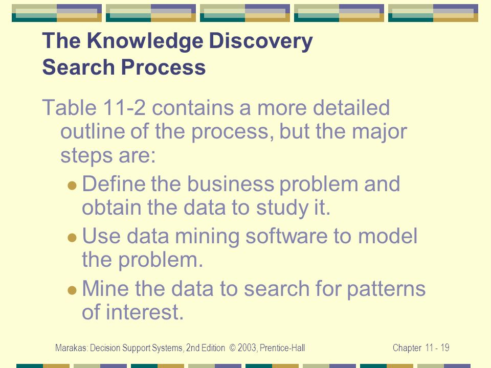 Marakas: Decision Support Systems, 2nd Edition © 2003, Prentice-HallChapter 11 - 19 The Knowledge Discovery Search Process Table 11-2 contains a more