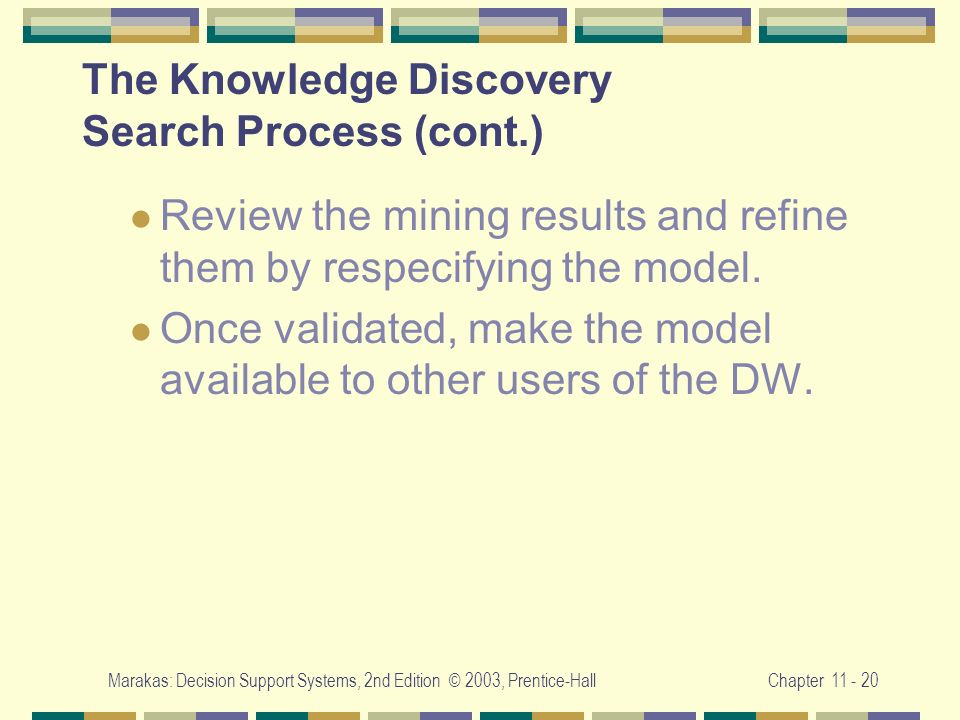 Marakas: Decision Support Systems, 2nd Edition © 2003, Prentice-HallChapter 11 - 20 The Knowledge Discovery Search Process (cont.) Review the mining r