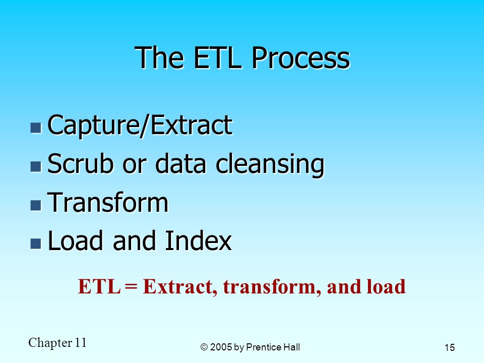 Chapter 11 © 2005 by Prentice Hall 15 The ETL Process Capture/Extract Capture/Extract Scrub or data cleansing Scrub or data cleansing Transform Transf