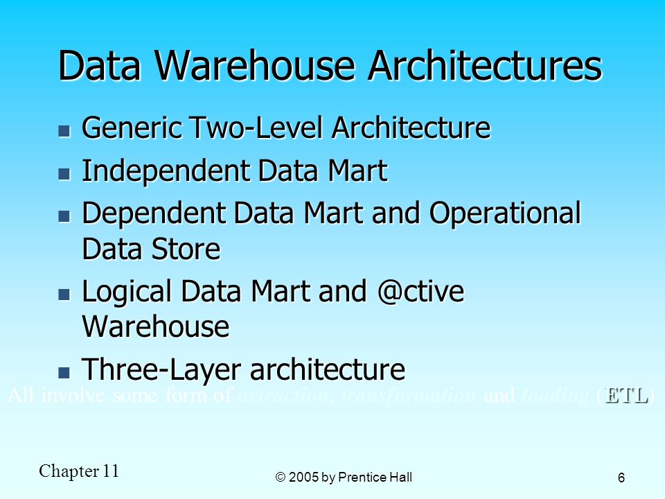 Chapter 11 © 2005 by Prentice Hall 6 Data Warehouse Architectures Generic Two-Level Architecture Generic Two-Level Architecture Independent Data Mart