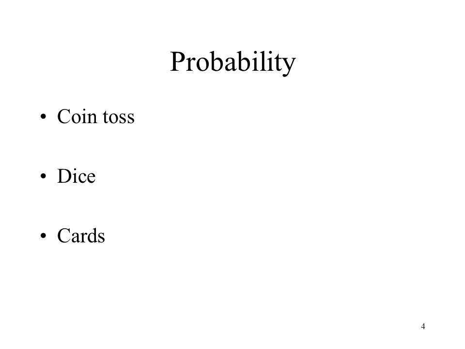 4 Probability Coin toss Dice Cards