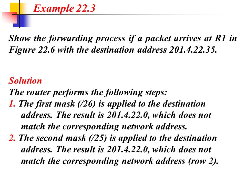 Show the forwarding process if a packet arrives at R1 in Figure 22.6 with the destination address 201.4.22.35. Example 22.3 Solution The router perfor