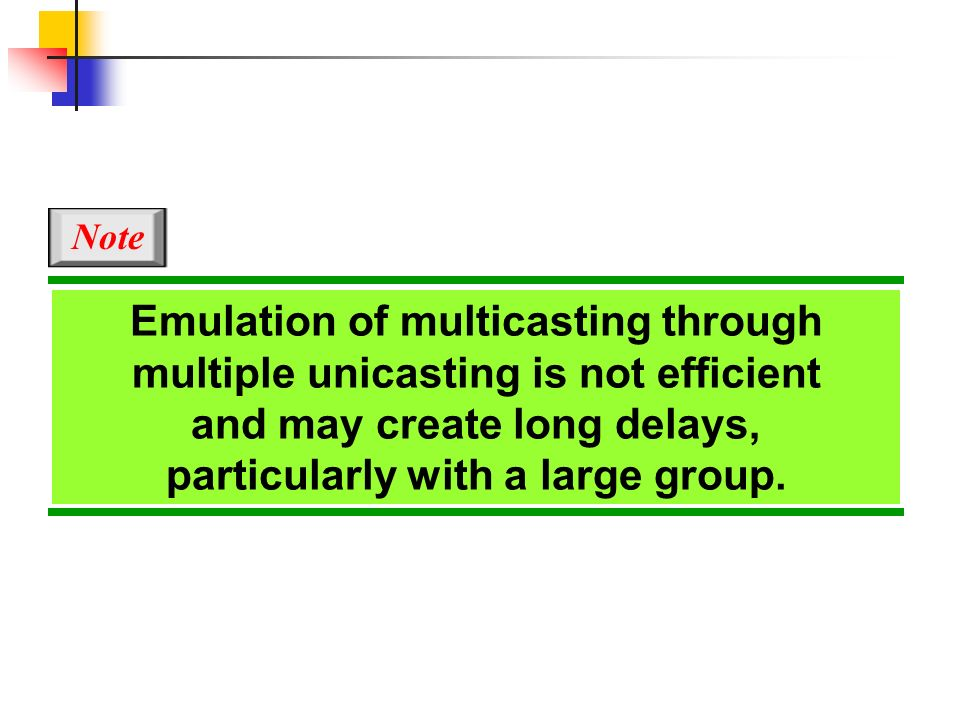 Emulation of multicasting through multiple unicasting is not efficient and may create long delays, particularly with a large group. Note
