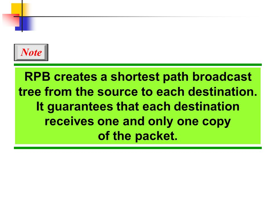 RPB creates a shortest path broadcast tree from the source to each destination. It guarantees that each destination receives one and only one copy of