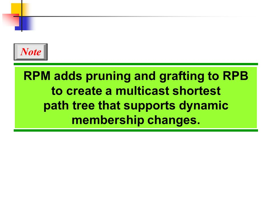 RPM adds pruning and grafting to RPB to create a multicast shortest path tree that supports dynamic membership changes. Note