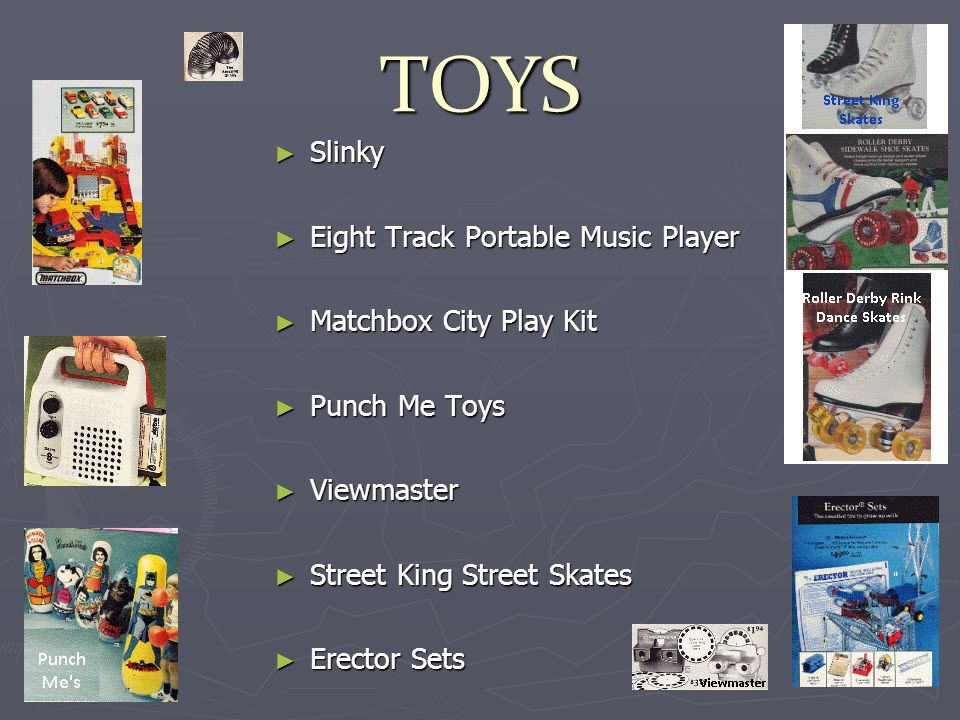TOYS Slinky Slinky Eight Track Portable Music Player Eight Track Portable Music Player Matchbox City Play Kit Matchbox City Play Kit Punch Me Toys Punch Me Toys Viewmaster Viewmaster Street King Street Skates Street King Street Skates Erector Sets Erector Sets