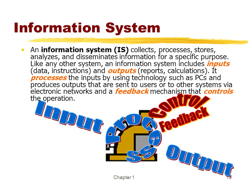 Chapter 113 Information System An information system (IS) collects, processes, stores, analyzes, and disseminates information for a specific purpose.