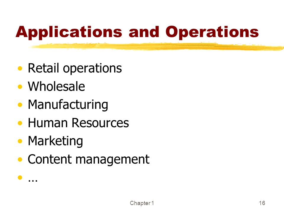Chapter 116 Applications and Operations Retail operations Wholesale Manufacturing Human Resources Marketing Content management …