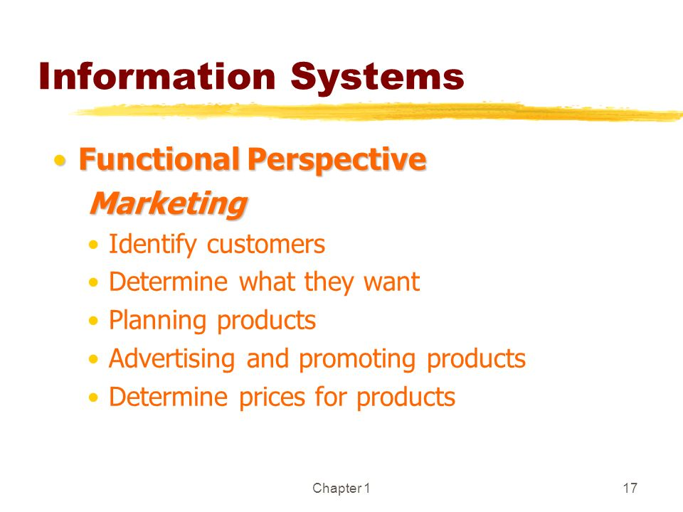 Chapter 117 Information Systems Functional PerspectiveFunctional PerspectiveMarketing Identify customers Determine what they want Planning products Ad