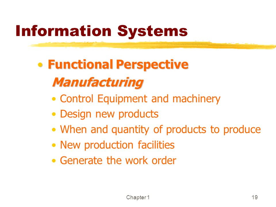 Chapter 119 Information Systems Functional PerspectiveFunctional PerspectiveManufacturing Control Equipment and machinery Design new products When and