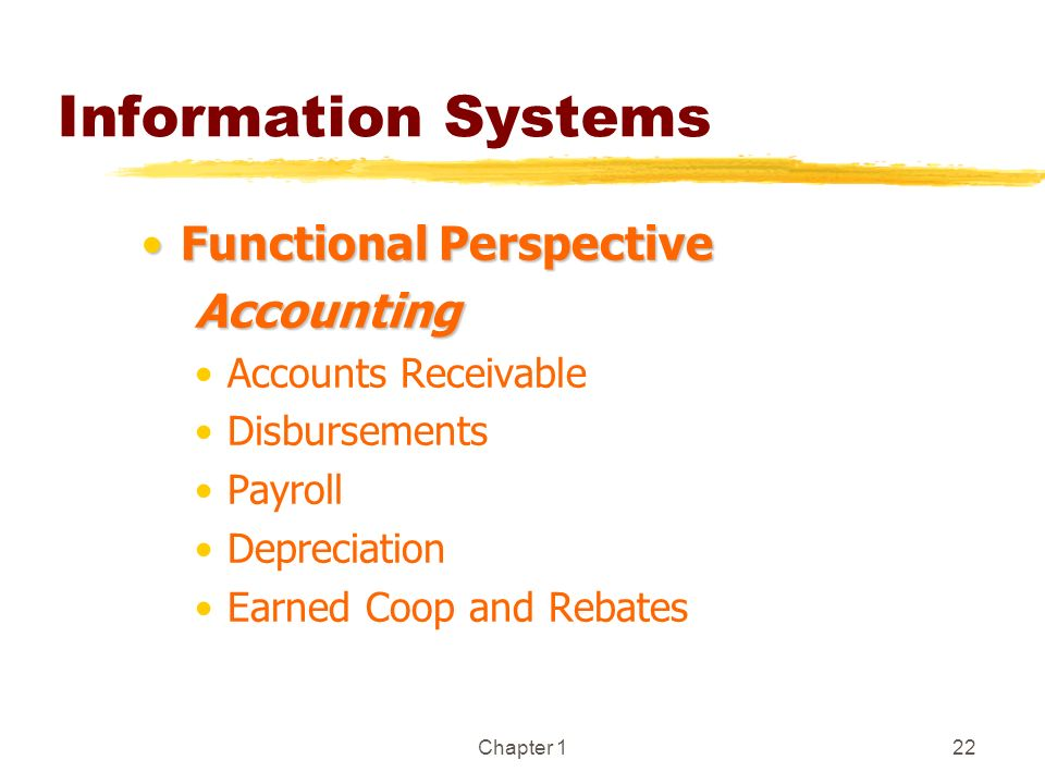 Chapter 122 Information Systems Functional PerspectiveFunctional PerspectiveAccounting Accounts Receivable Disbursements Payroll Depreciation Earned C