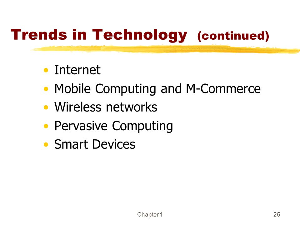 Chapter 125 Trends in Technology (continued) Internet Mobile Computing and M-Commerce Wireless networks Pervasive Computing Smart Devices