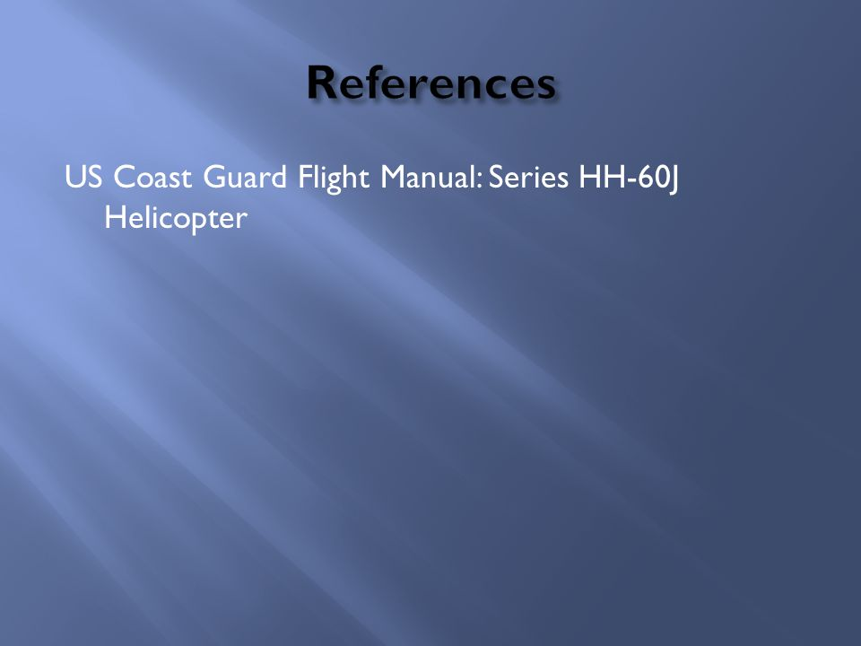 US Coast Guard Flight Manual: Series HH-60J Helicopter
