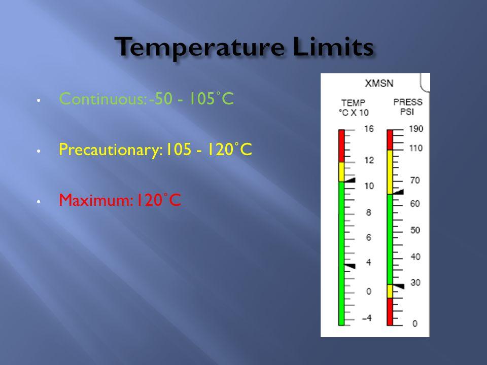 Continuous: -50 - 105˚C Precautionary: 105 - 120˚C Maximum: 120˚C