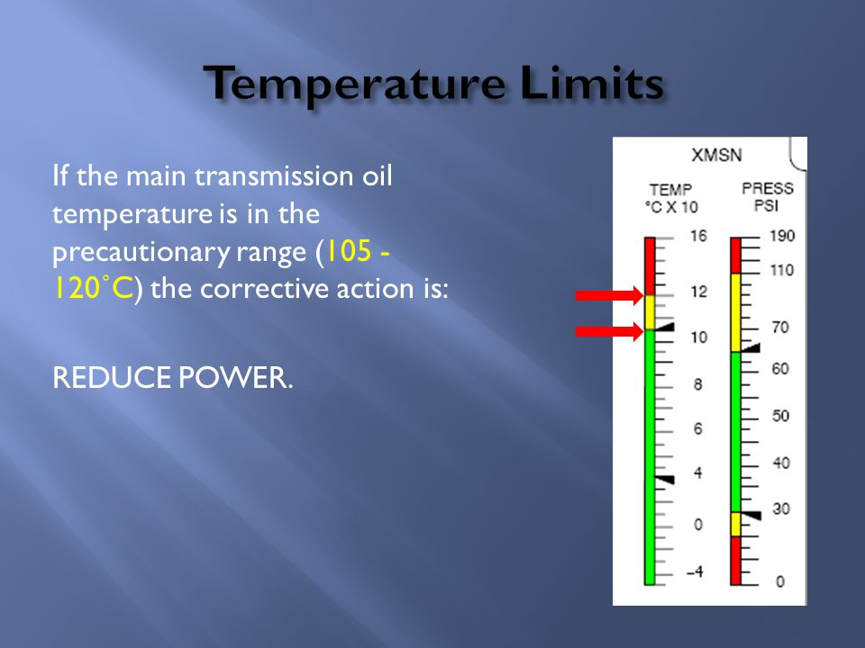 If transmission temperature is noted between 105 - 120˚C the corrective action is to: Reduce power.