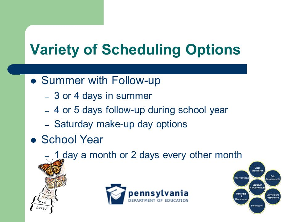 Variety of Scheduling Options Summer with Follow-up – 3 or 4 days in summer – 4 or 5 days follow-up during school year – Saturday make-up day options School Year – 1 day a month or 2 days every other month