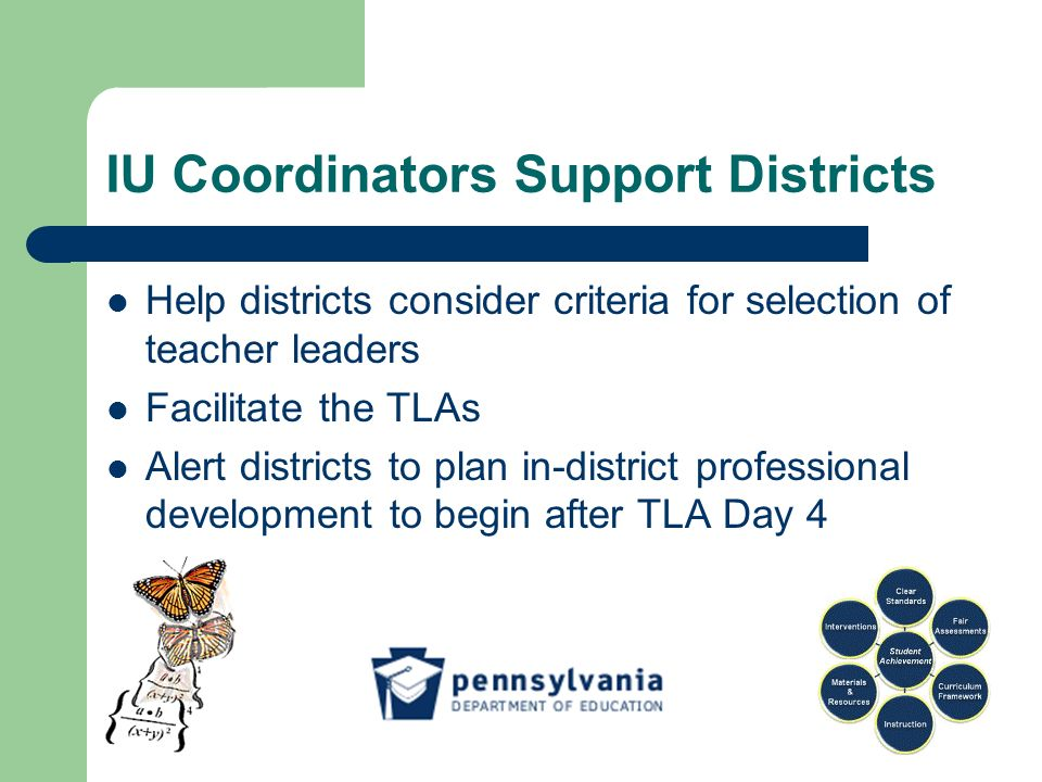 IU Coordinators Support Districts Help districts consider criteria for selection of teacher leaders Facilitate the TLAs Alert districts to plan in-district professional development to begin after TLA Day 4