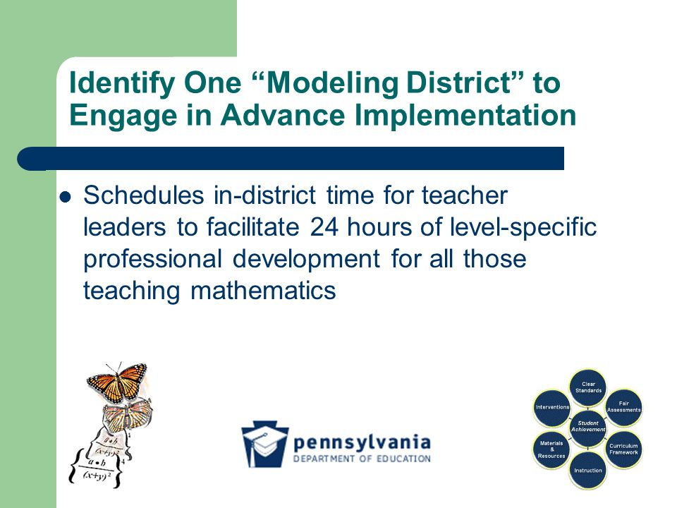 Identify One Modeling District to Engage in Advance Implementation Schedules in-district time for teacher leaders to facilitate 24 hours of level-specific professional development for all those teaching mathematics