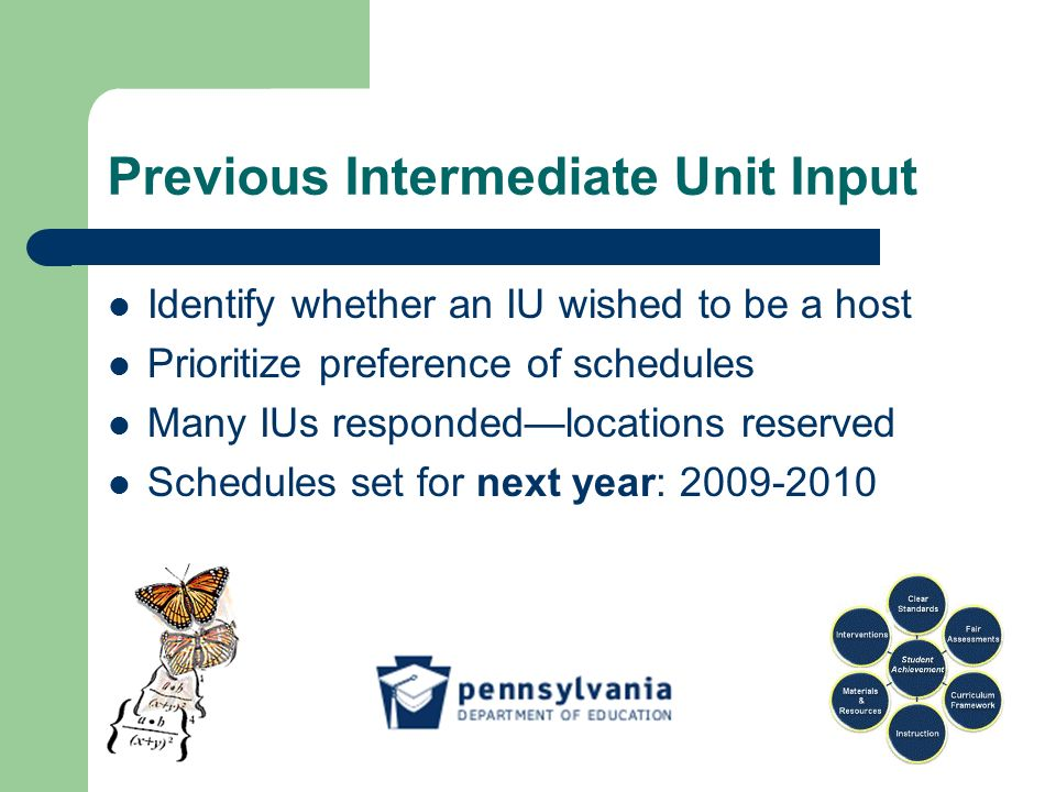 Previous Intermediate Unit Input Identify whether an IU wished to be a host Prioritize preference of schedules Many IUs respondedlocations reserved Schedules set for next year: