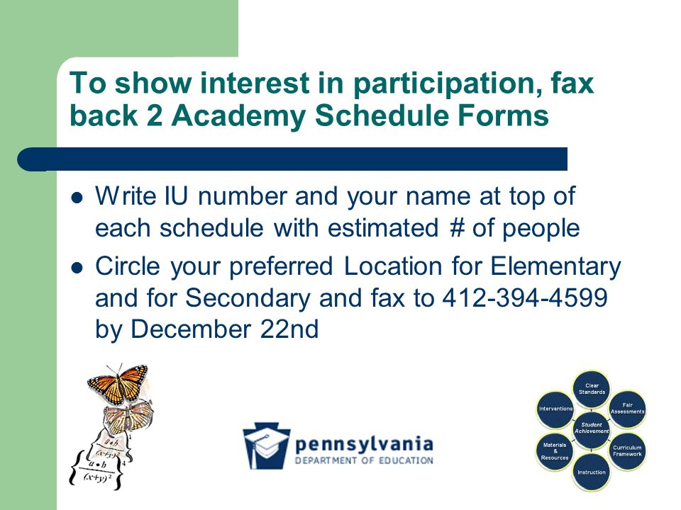 To show interest in participation, fax back 2 Academy Schedule Forms Write IU number and your name at top of each schedule with estimated # of people Circle your preferred Location for Elementary and for Secondary and fax to 412-394-4599 by December 22nd