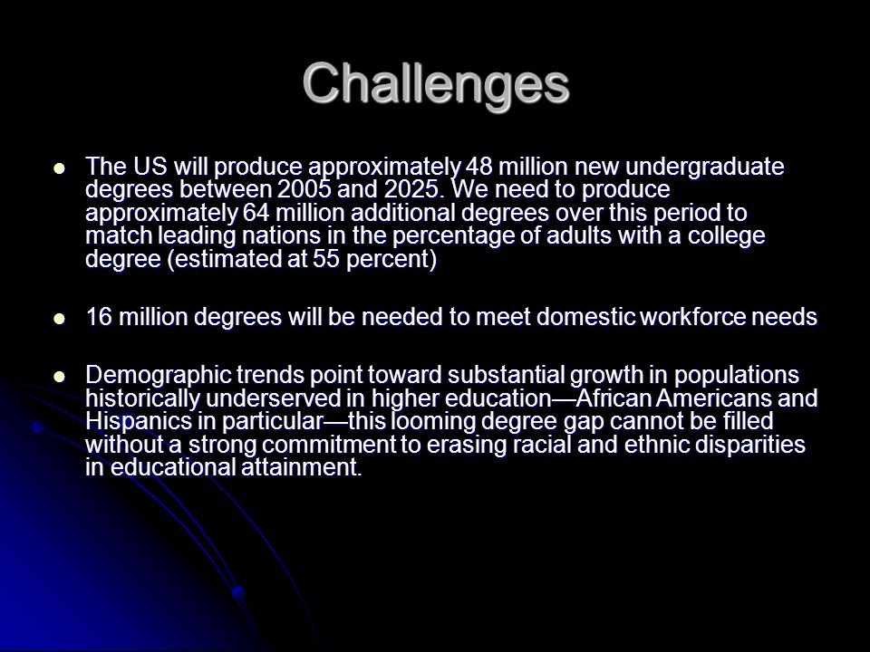 Challenges The US will produce approximately 48 million new undergraduate degrees between 2005 and 2025.