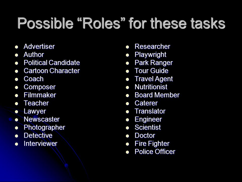 Possible Roles for these tasks Advertiser Advertiser Author Author Political Candidate Political Candidate Cartoon Character Cartoon Character Coach Coach Composer Composer Filmmaker Filmmaker Teacher Teacher Lawyer Lawyer Newscaster Newscaster Photographer Photographer Detective Detective Interviewer Interviewer Researcher Researcher Playwright Playwright Park Ranger Park Ranger Tour Guide Tour Guide Travel Agent Travel Agent Nutritionist Nutritionist Board Member Board Member Caterer Caterer Translator Translator Engineer Engineer Scientist Scientist Doctor Doctor Fire Fighter Fire Fighter Police Officer Police Officer