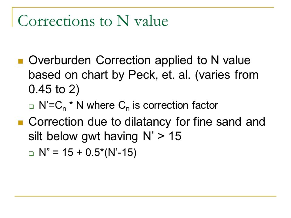 Corrections to N value Overburden Correction applied to N value based on chart by Peck, et. al. (varies from 0.45 to 2) N=C n * N where C n is correct