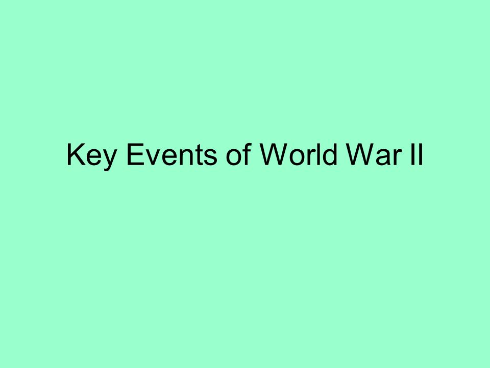 Key Events of World War II