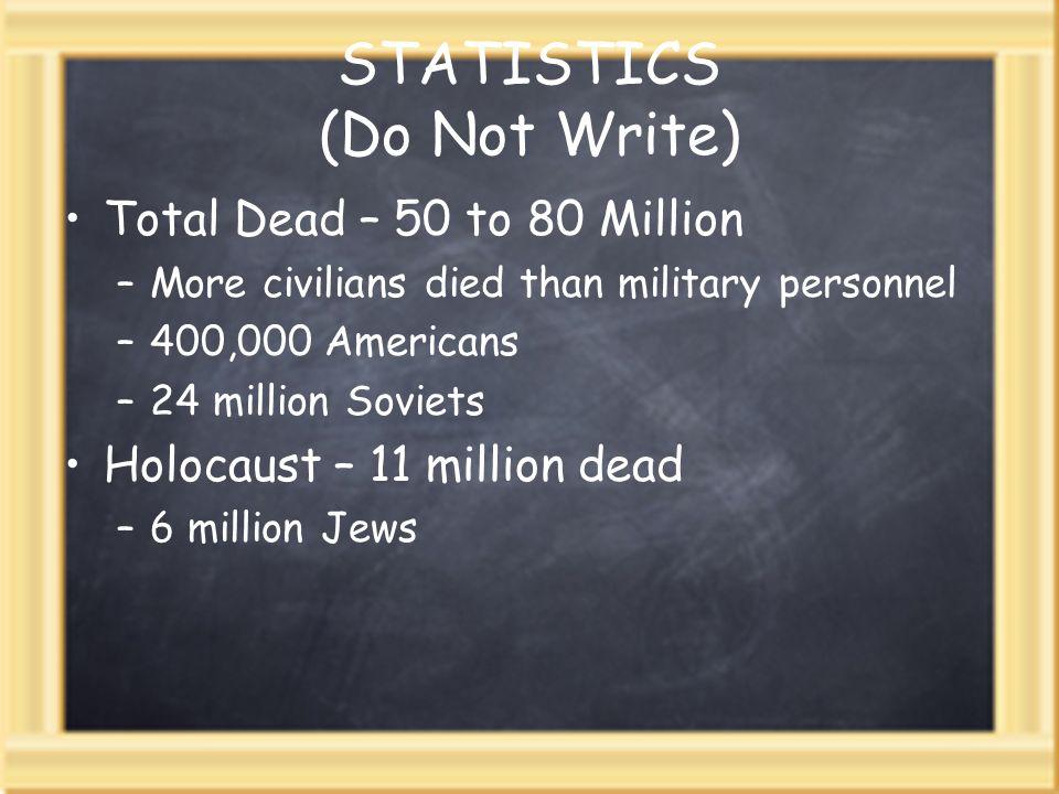 STATISTICS (Do Not Write) Total Dead – 50 to 80 Million –More civilians died than military personnel –400,000 Americans –24 million Soviets Holocaust – 11 million dead –6 million Jews