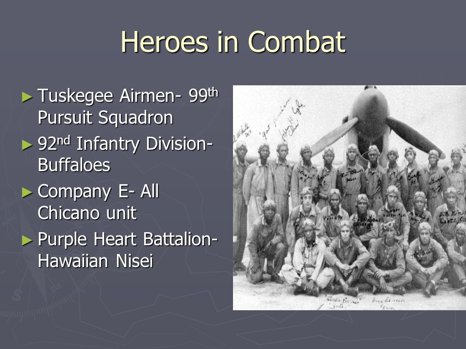 Heroes in Combat Tuskegee Airmen- 99 th Pursuit Squadron Tuskegee Airmen- 99 th Pursuit Squadron 92 nd Infantry Division- Buffaloes 92 nd Infantry Div